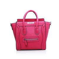 Hot sale!! Nano leighton masters smile face boston totes bag 3309 in rose red original calfskin leather  women messenger handbag