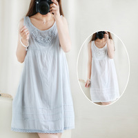 Mori girl summer suspender one-piece dress Women 100% cotton big bottom loose-waisted winter dress spaghetti strap lace dress