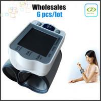 Wholesales 6pcs/lot Household LCD Wrist Blood Pressure Pulse Monitor Heart Beat Meter Sphygmomanometer  tonometer