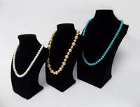 Black Velvet   Mannequine Kit 3PCS Wooden Rack Shelf Portrait Jewelry Necklace Pendant Display Prop Bust Stand Holder