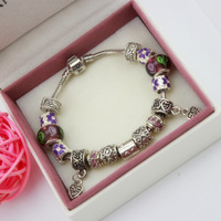 925 sterling silver european style charm bracelet with Murano glass Beads