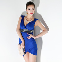 Free shipping new 2014 short party dress v-neck hot&sexy women summer dress party evening elegant vestido celebrity dresses