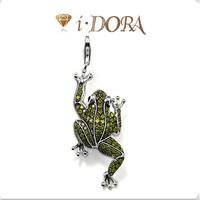 2014 Hot sell diy ts fashion charms bracelet alloys silver plated enamel jewelry pendant diamante frog TS8571 silver