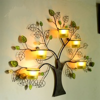 Creative Handmade Rustic Iron Tree Shape Candle Holder Wind Lamp Wall Art Craftworks Accessories Embellishment. Free Shipping
