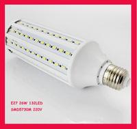 SMD5730 Chip E27 26W 220v corn light bulb,360 luminous,132 led,free shipping