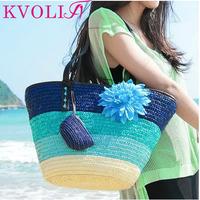 summer fashion flower women handbag color stripes straw shoulder bag beach handbags new 2014 HL1888