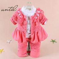 Retail 2014 Spring Fashion Baby Girls Flowers Lace Shining Dress Clothes Set, Coat+ Tshirt+ Pants, Free Shipping