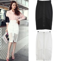 New 2014 Spring Summer Fashion Korean Street Style Sexy Sheer Zipper Pencil Skirt Bodycon Skirts For Women Girl 14409