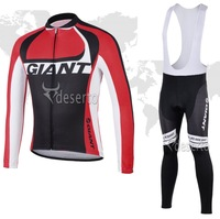 2014 Giant Red Cycling Jersey long Sleeved only /bib pants/Cycling Kits/wear Winter/ Cycling Clothing /best