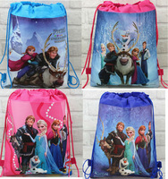 Wholesale 120pcs Cartoon  Frozen  shoe bag, shoe pouch, gift bag, drawstring bag schoolbag shoulderbag free shipping