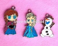 Popular 50 pcs cartoon  cute Elsa Anna  Metal Charms DIY Jewellery pendant Free shipping
