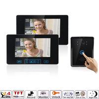 """7"""" 1 to 2 Wireless Video Door Phone Doorbell Intercom 2 monitors with one IR outdoor waterooof Camera UK plug"""