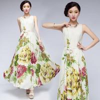 summer dress 2014 new fresh bohemia full dress chiffon jumpsuit full dress slim expansion bottom beach dress
