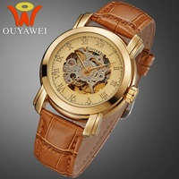 New Design OUYAWEIFashion Men's Mechanical Sports Watch High Quality Leather Strap Luxury Wristwatch Free Shipping On Sale