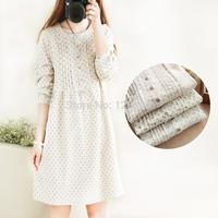 Mori girl Spring polka dot one-piece winter dress long-sleeve loose waisted big hum dress 100%cotton mori girl winter slim dress