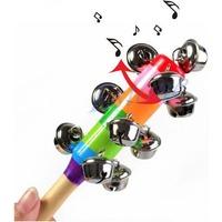 Baby Rainbow Toy kid Pram Crib Handle Wooden Activity Bell Stick Shaker Rattle