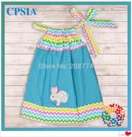 Wholesale- Colorful Chevron Girls Pillowcase Dress with Cute Rabbit Pattern  24pcs /lot