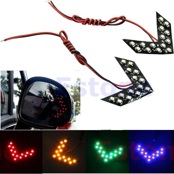 2pcs 4 Colors 14-SMD LED Arrow Panels Light For Car Side Mirror Turn Signal Indicator Light(China (Mainland))