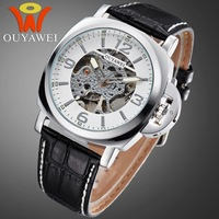 New 2014 Luxury Leather Strap Wrist Watch Top Man's Mechanical Watches 10 ATM Waterproof On Sale