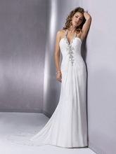 2014 New Style A-line Halter Chapel train Chiffon Wedding Dresses #USARS021 size 2-4-6-8-10-12-14-16-18++ or custom(China (Mainland))