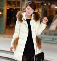 fre shipping high quality women down jacket 2014 new winter dress women's fur collar coat warm long length outwear 158
