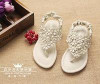 New arrival 2014 summer Rome wind flower girl herringbone Sandals slippers kid/baby Korea Princess shoes  Wholesales  size 24-34