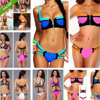 Women's Bandage Zip Bikini Set Push Up Padded Vintage Bikinis Set Swimsuit Swimwear Size:S M L