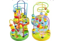New 1PC baby wooden toys baby learning & education toy,Rosary beads around the game, natural quality of wood.