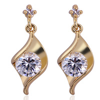 18k gold plated square zircon with rhombic metal classic design stud earrings for women wholesale
