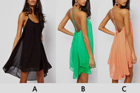 3 colors Sexy Women Chiffon Backless Sling Strap Back Club Mini Party Dress Wholesale Hot