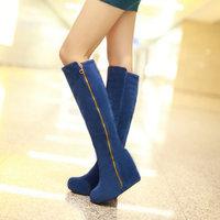 On sale 2014 winter wedges flock knee high sexy boots for women T1HR-H605 high heels platforms women boots zip fastener not USE