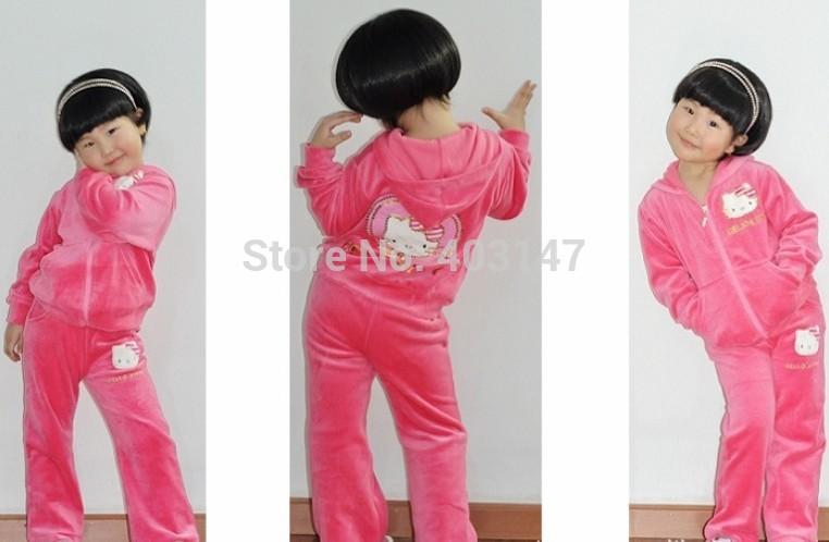 New 2014 Girl Clothing Set Children Hoodies Kids Hello Kitty Clothes Sets Baby Girl Conjuntos Atacado Roupas Infantil coat 3t-7t(China (Mainland))