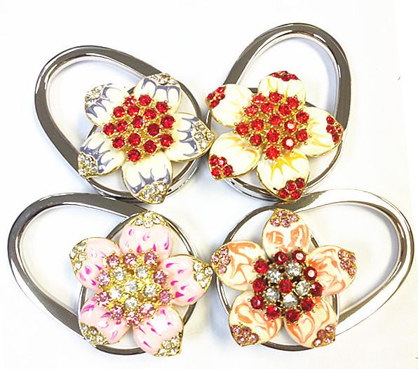 Crystal Flower Look Hook Metal Foldable Purse Hook Hanger Handbag Holder Folding Bag accessories Christmas Gift(China (Mainland))