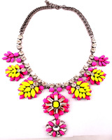 New 2014 Luxury pendant necklace Rainbow Crystal flower Necklaces fashion shourouk Colorful High Quality necklace women