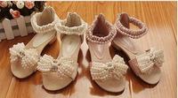 New pattern Trendy Korean girls pearl Sandals Heels children shoes
