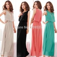 Exclusive!  7 Colors, 2014 New Hot Sale Women High Quality Pleated Bohemia Maxi Long Chiffon Dress,