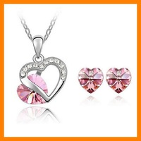 Free Shipping Double Heart Lovers Crystal Jewelry Set