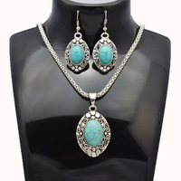 New fashion jewelry set tibetan silver plated turquoise drop earring pendant necklace set for women girl S614