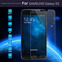 New Super Clear Premium Tempered Glass Screen Protector for samsung galaxy s5 SM-G900 i9600 Ultra Thin 0.3mm 2.5D+free Case
