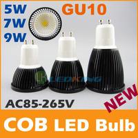 COB LED Bulb 5W 7W 9W black shell high brightness Lamp GU10 E27 MR16 Bulb AC85-265V/ DC 12V LED COB Spotlight downlight