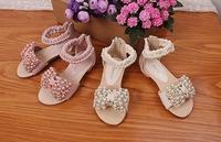 2014 new summer girls pearl sandals  big girl High-heeled Princess shoes