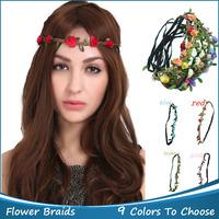 New Hair Accessories 5pcs/lot Bohemian Style Headband HAIR BANDS Rose Flower Braided Leather Elastic Headwrap Hair Ornaments