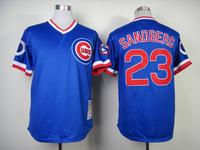 Chicago Cubs Jerseys #23 Ryne Sandberg Blue Throwback Cool Base Baseball Jersey 100% Stitched,Embroidery Logos