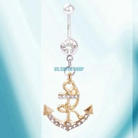 ES2331 Golden Anchor Body Piercing Navel Stud Barbell Fashion Women Belly Ring Button