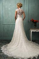 2014 High Quality White ivory Wedding DressJewel Tea length  Beading Modern Fashion  Graceful Bridal Gown