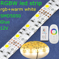 IP65 glue waterproof SMD5050 double row 600leds DC12V rgbw (warm white+rgb) flexible led strip light+2.4G rgbw led touch control