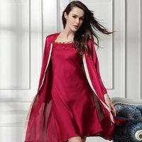 new 2104 silk sexy women robe / quality embroidery women sleepwear smooth women nightgwon pajama sets 2 pieces Free shipping