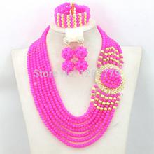 New Hot Beaded Fashion Jewelry Nigerian Wedding African Beads Jewelry Set Women Crystal Set 18K Gold