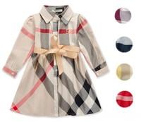 2-6yrs Baby Girls Dresses England Style Half-sleeved Kids Brand Plaid Dress 100% Cotton Uniform One-piece Dress Free shipping