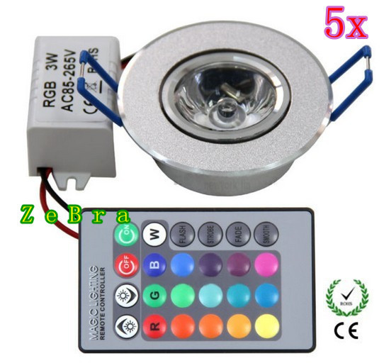 5pcs 3W LED RGB Ceiling Light Down Recessed Lamp Bulb Spotlight 85~265V With RC Free Shipping(China (Mainland))